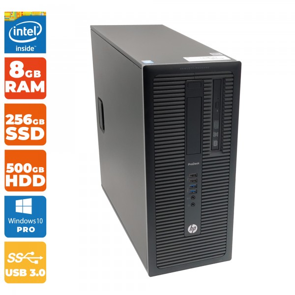 HP ProDesk 600 G1 TWR Intel i5- 4.Gen | 8GB RAM DDR3 | 256GB SSD | 500GB HDD